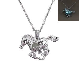 Jewelry - Amazing! Glow In The Dark 3D Silver Horse Necklace